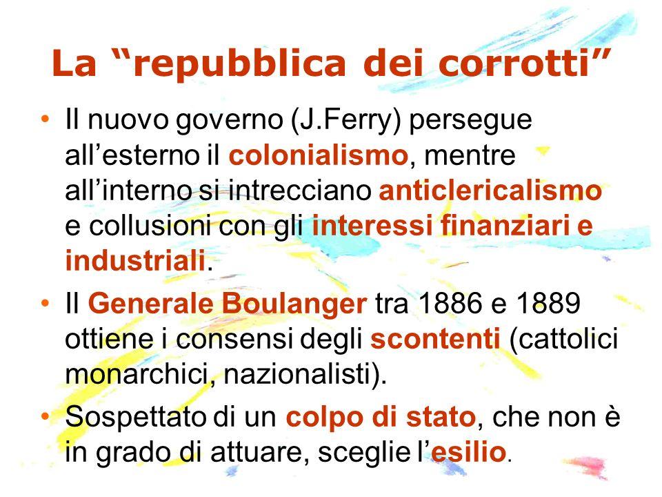 La repubblica dei corrotti Il nuovo governo (J.Ferry) persegue allesterno il colonialismo, mentre allinterno si intrecciano anticlericalismo e collusi