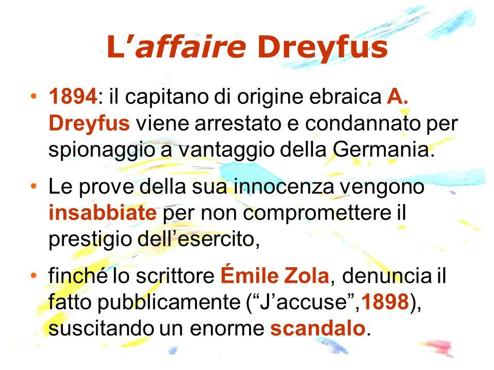 Laffaire Dreyfus 1894: il capitano di origine ebraica A. Dreyfus viene arrestato e condannato per spionaggio a vantaggio della Germania. Le prove dell