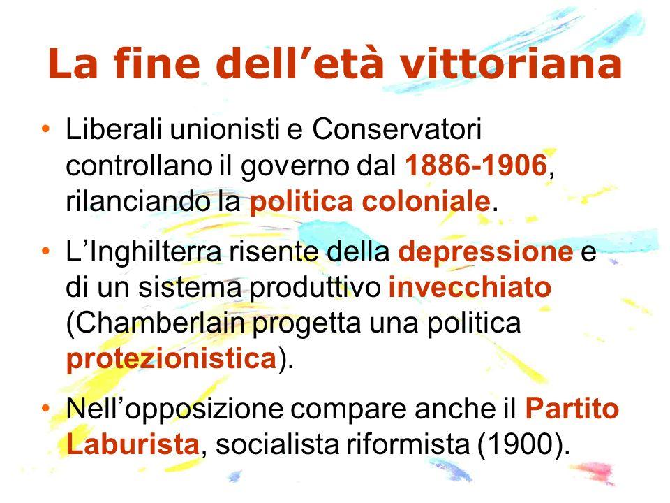 La fine delletà vittoriana Liberali unionisti e Conservatori controllano il governo dal 1886-1906, rilanciando la politica coloniale. LInghilterra ris