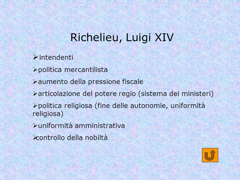 Richelieu, Luigi XIV intendenti politica mercantilista aumento della pressione fiscale articolazione del potere regio (sistema dei ministeri) politica