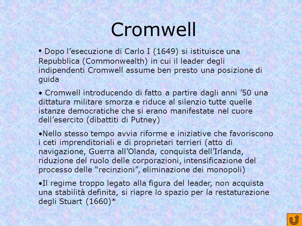 Cromwell Dopo lesecuzione di Carlo I (1649) si istituisce una Repubblica (Commonwealth) in cui il leader degli indipendenti Cromwell assume ben presto