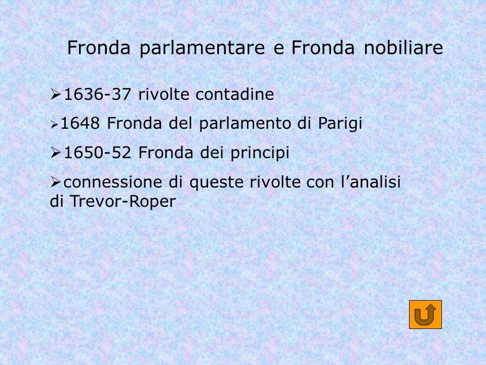Fronda parlamentare e Fronda nobiliare 1636-37 rivolte contadine 1648 Fronda del parlamento di Parigi 1650-52 Fronda dei principi connessione di quest