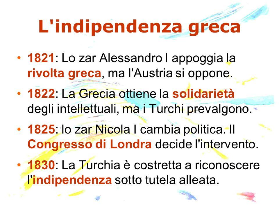 L'indipendenza greca 1821: Lo zar Alessandro I appoggia la rivolta greca, ma l'Austria si oppone. 1822: La Grecia ottiene la solidarietà degli intelle