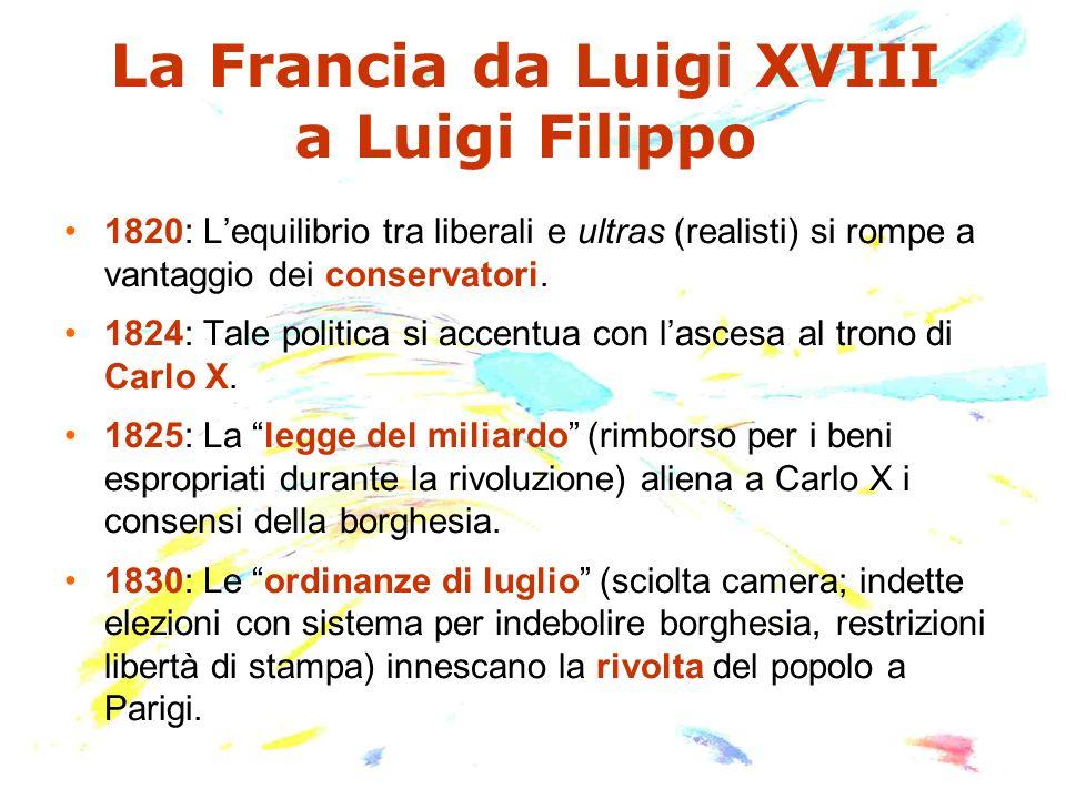 La Francia da Luigi XVIII a Luigi Filippo 1820: Lequilibrio tra liberali e ultras (realisti) si rompe a vantaggio dei conservatori. 1824: Tale politic