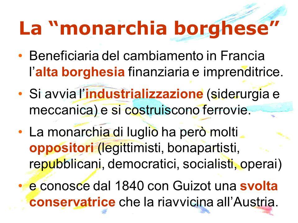 La monarchia borghese Beneficiaria del cambiamento in Francia lalta borghesia finanziaria e imprenditrice. Si avvia lindustrializzazione (siderurgia e