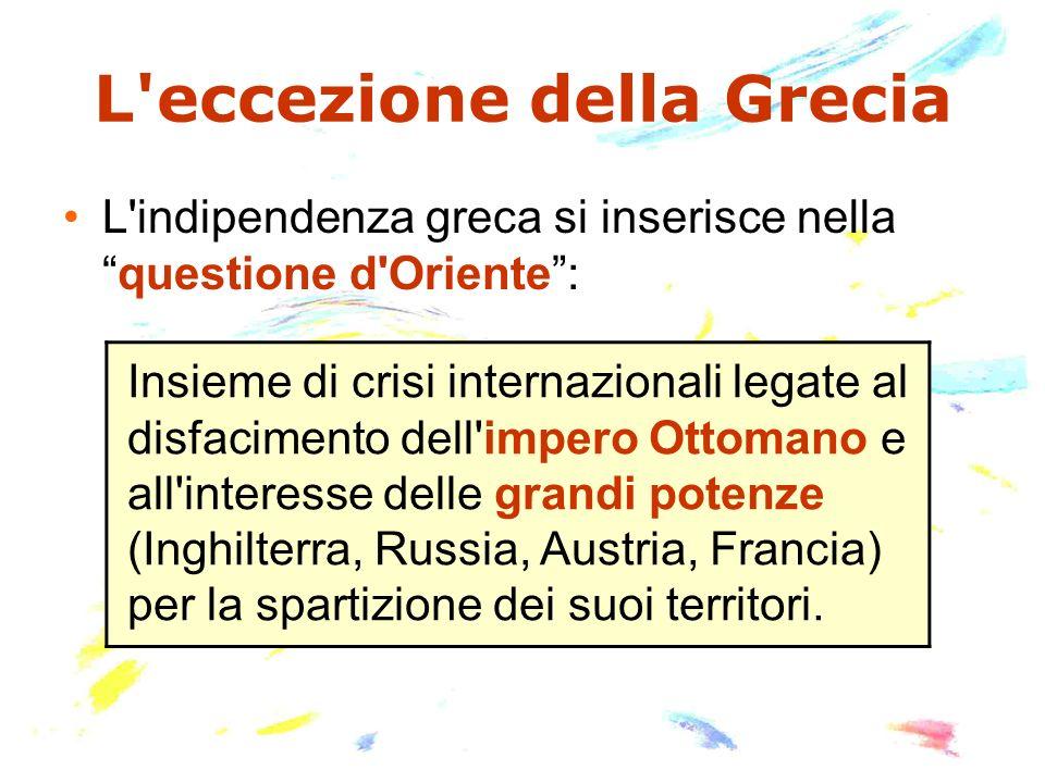 L'eccezione della Grecia L'indipendenza greca si inserisce nellaquestione d'Oriente: Insieme di crisi internazionali legate al disfacimento dell'imper