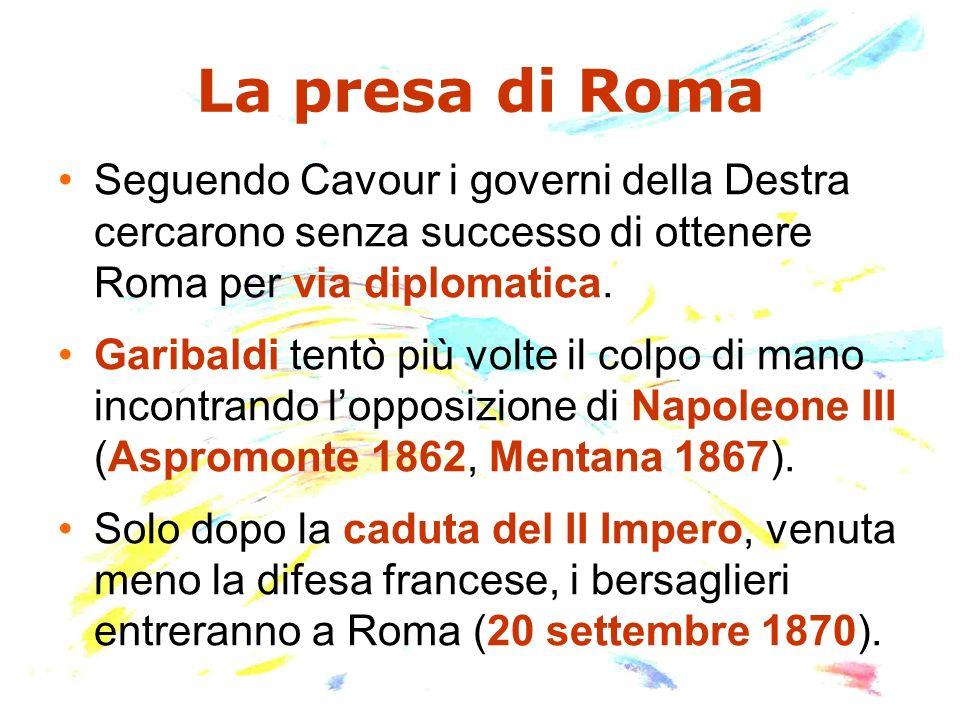 La questione romana Lunificazione comportò una rottura tra la Chiesa cattolica e il nuovo stato italiano.