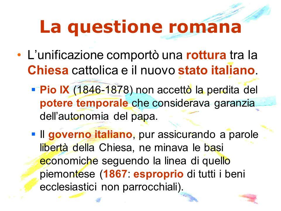 La crisi sarà sancita da: Scomunica (1860) dei responsabili dellusurpazione dei territori pontifici.