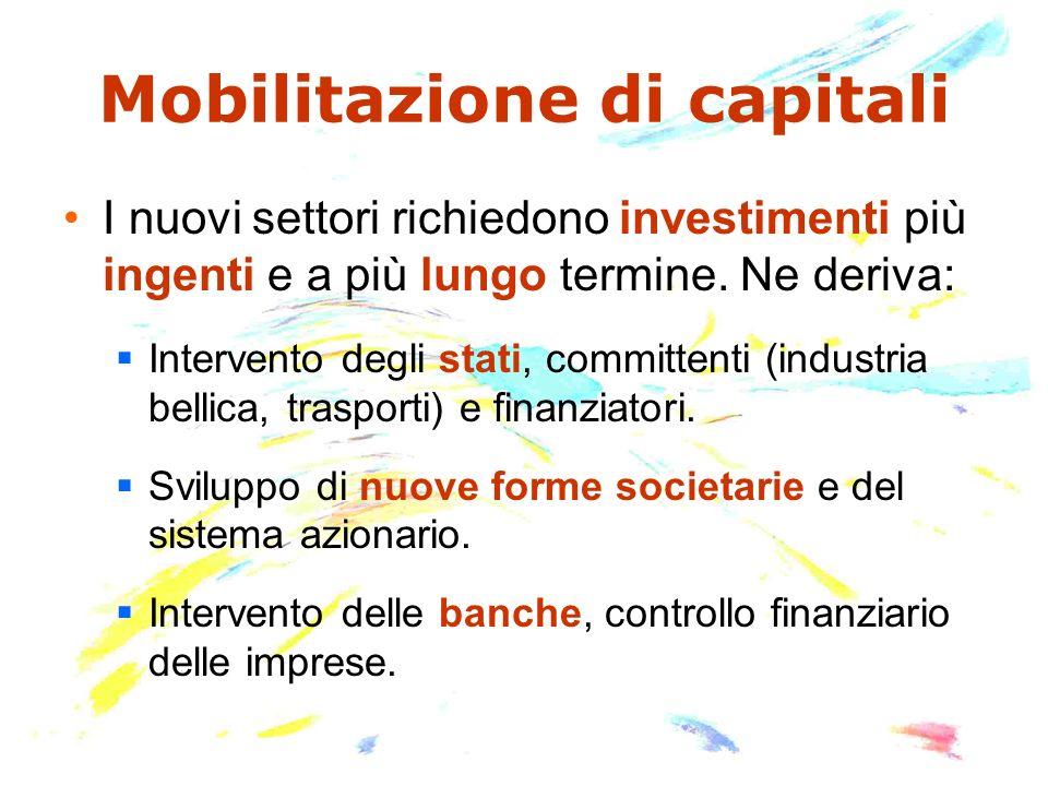 Mobilitazione di capitali I nuovi settori richiedono investimenti più ingenti e a più lungo termine.