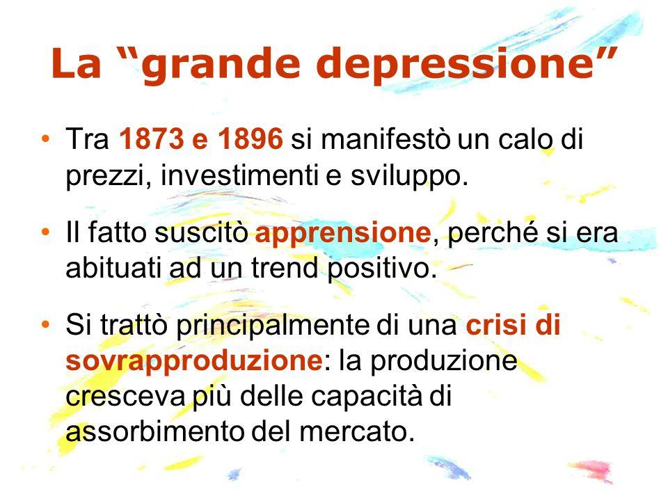 La grande depressione Tra 1873 e 1896 si manifestò un calo di prezzi, investimenti e sviluppo.