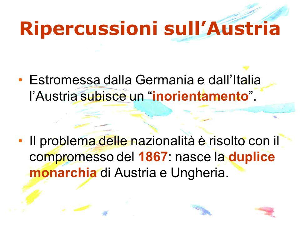 Ripercussioni sullAustria Estromessa dalla Germania e dallItalia lAustria subisce un inorientamento. Il problema delle nazionalità è risolto con il co