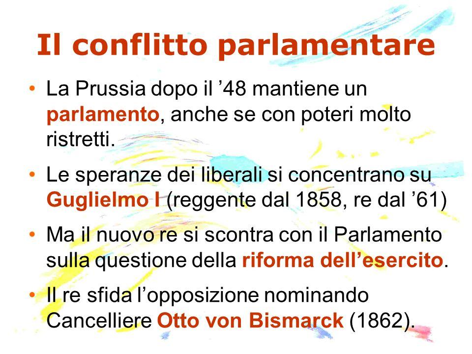 Il conflitto parlamentare La Prussia dopo il 48 mantiene un parlamento, anche se con poteri molto ristretti. Le speranze dei liberali si concentrano s