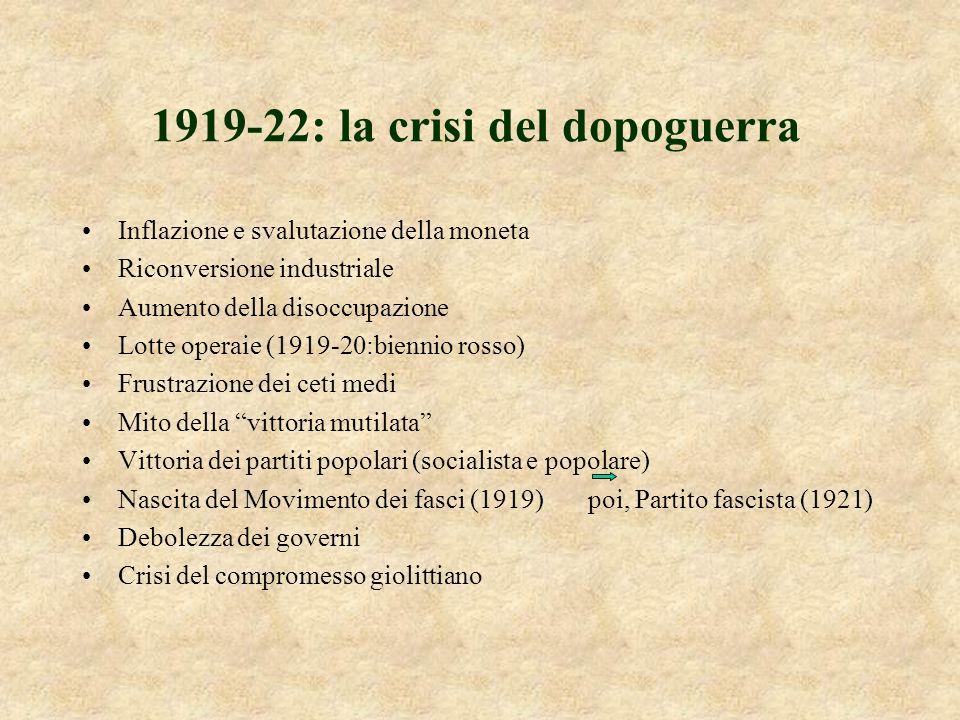 1922-26: dalla marcia su Roma alla dittatura Il 28 ottobre del 22 migliaia di fascisti occupano la capitale Facta propone al re di decretare lo stato di assedio.