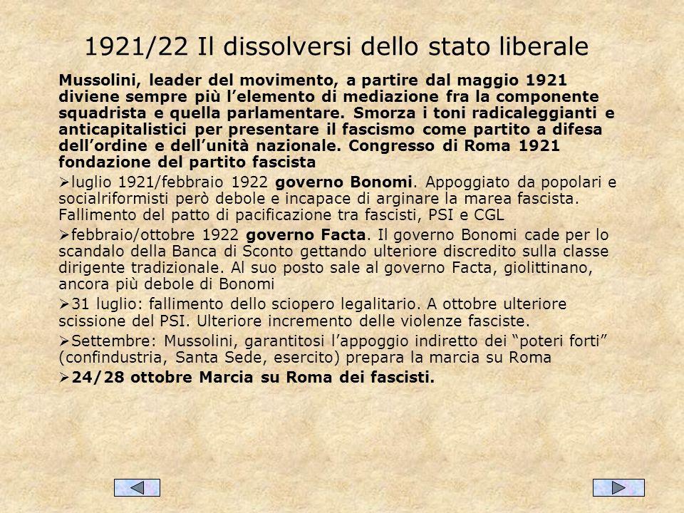 1921/22 Il dissolversi dello stato liberale Mussolini, leader del movimento, a partire dal maggio 1921 diviene sempre più lelemento di mediazione fra la componente squadrista e quella parlamentare.
