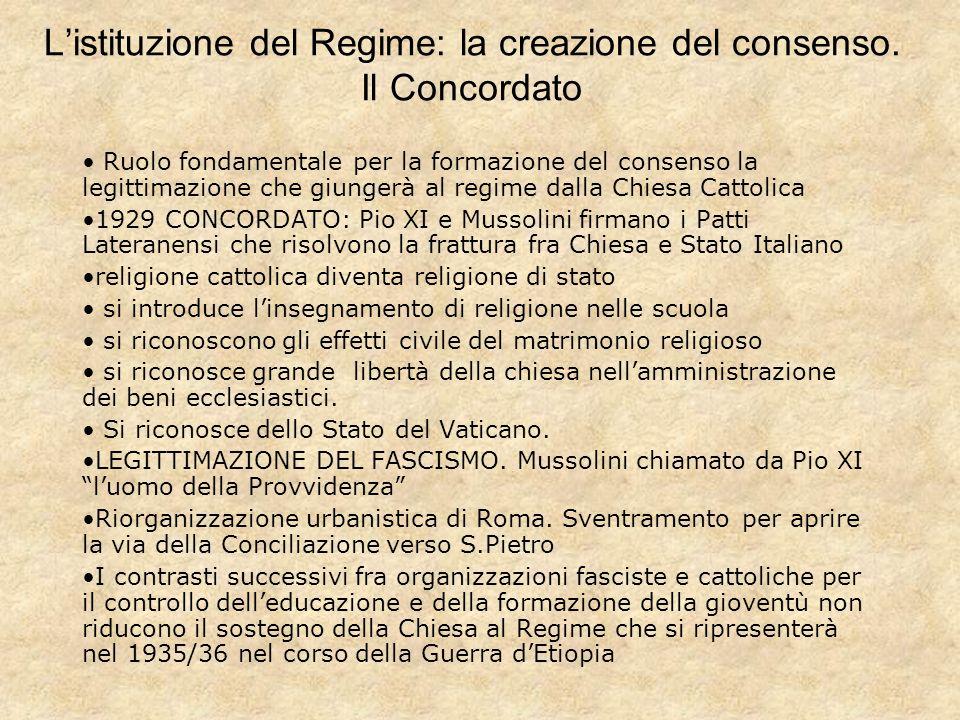 Listituzione del Regime: la creazione del consenso.