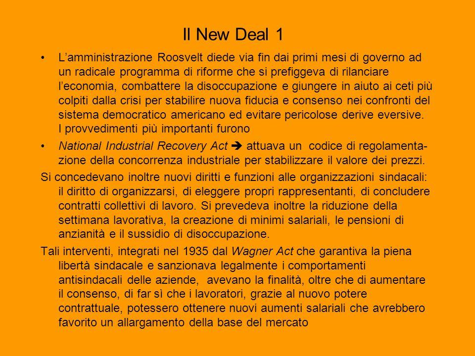 Il New Deal 1 Lamministrazione Roosvelt diede via fin dai primi mesi di governo ad un radicale programma di riforme che si prefiggeva di rilanciare le