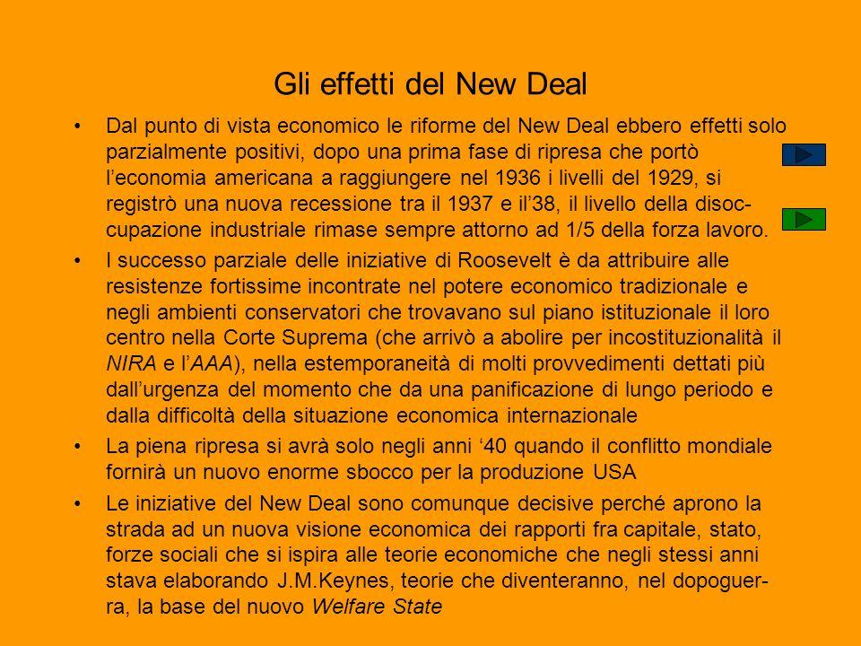 Gli effetti del New Deal Dal punto di vista economico le riforme del New Deal ebbero effetti solo parzialmente positivi, dopo una prima fase di ripres
