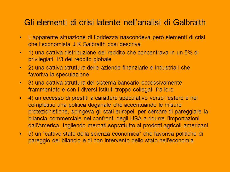 Gli elementi di crisi latente nellanalisi di Galbraith Lapparente situazione di floridezza nascondeva però elementi di crisi che leconomista J.K.Galbr
