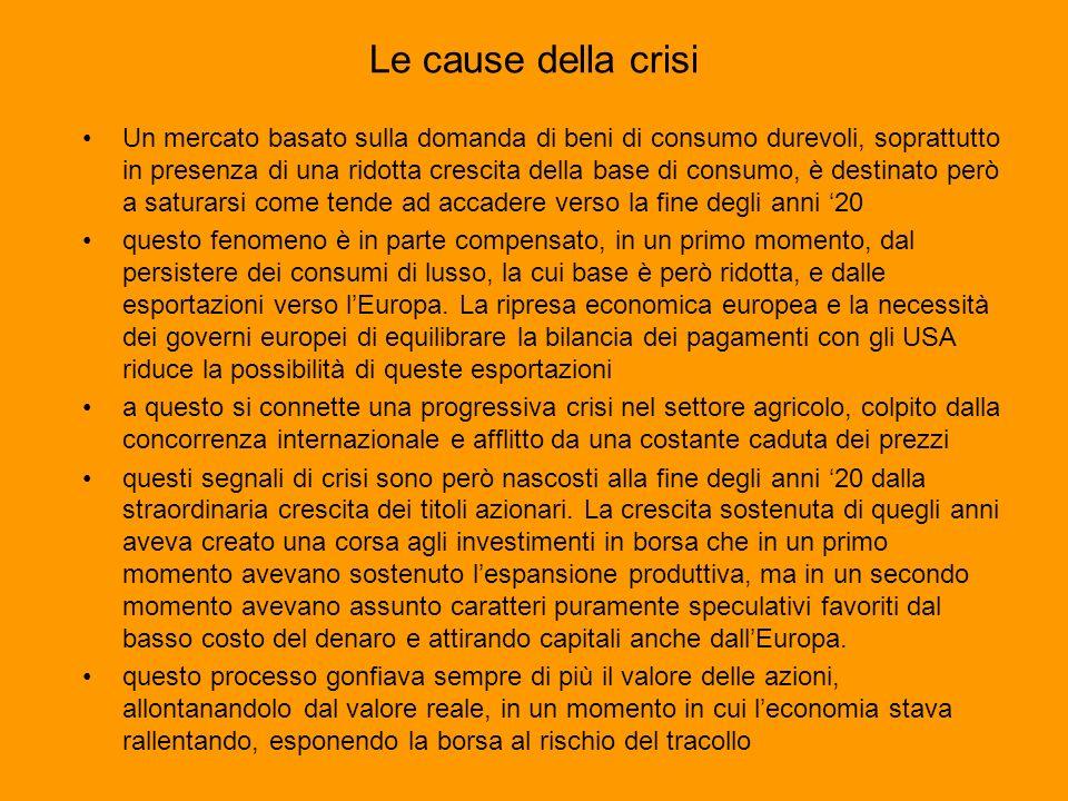 Le cause della crisi Un mercato basato sulla domanda di beni di consumo durevoli, soprattutto in presenza di una ridotta crescita della base di consum