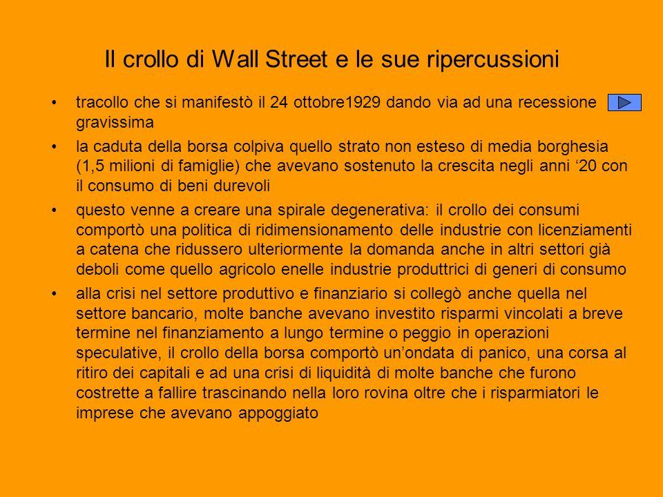 Il crollo di Wall Street e le sue ripercussioni tracollo che si manifestò il 24 ottobre1929 dando via ad una recessione gravissima la caduta della bor