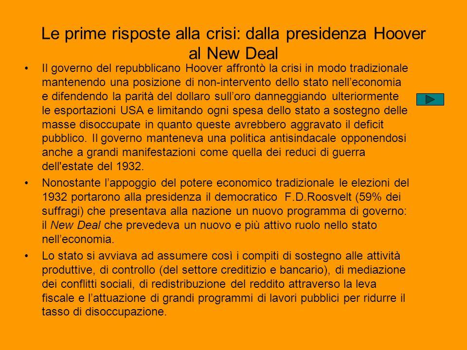 Le prime risposte alla crisi: dalla presidenza Hoover al New Deal Il governo del repubblicano Hoover affrontò la crisi in modo tradizionale mantenendo