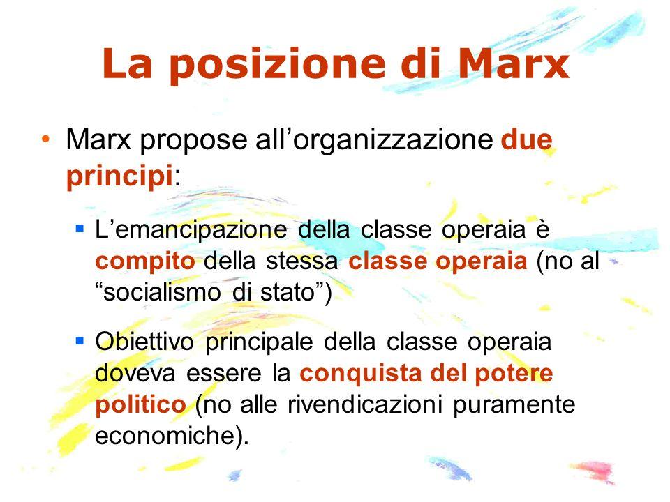 La posizione di Marx Marx propose allorganizzazione due principi: Lemancipazione della classe operaia è compito della stessa classe operaia (no al soc