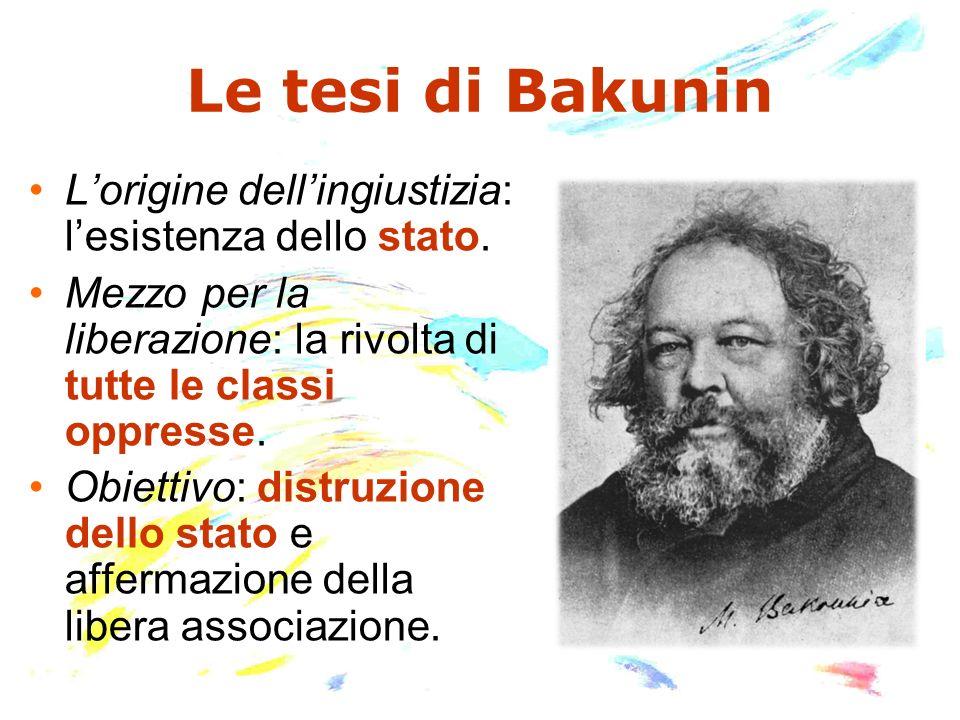 Le tesi di Bakunin Lorigine dellingiustizia: lesistenza dello stato. Mezzo per la liberazione: la rivolta di tutte le classi oppresse. Obiettivo: dist