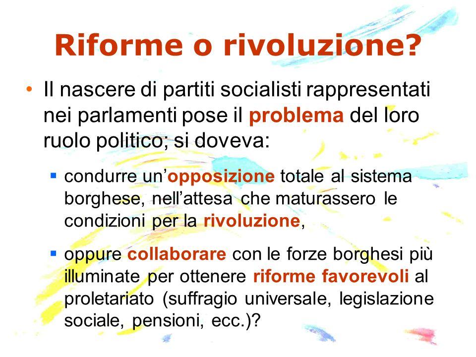 Riforme o rivoluzione? Il nascere di partiti socialisti rappresentati nei parlamenti pose il problema del loro ruolo politico; si doveva: condurre uno
