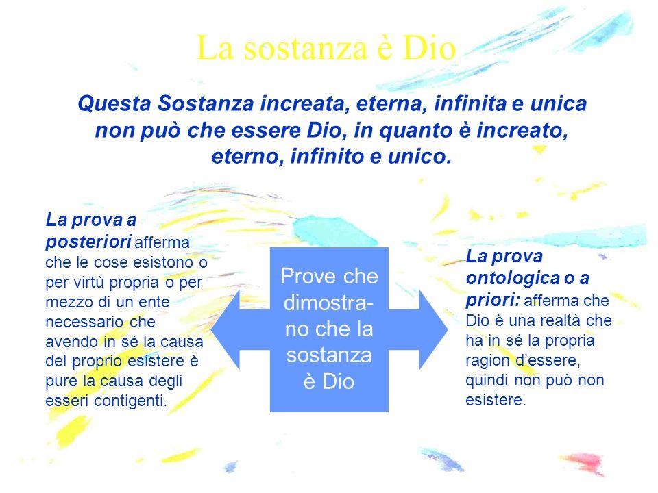 La sostanza è Dio Questa Sostanza increata, eterna, infinita e unica non può che essere Dio, in quanto è increato, eterno, infinito e unico. Prove che