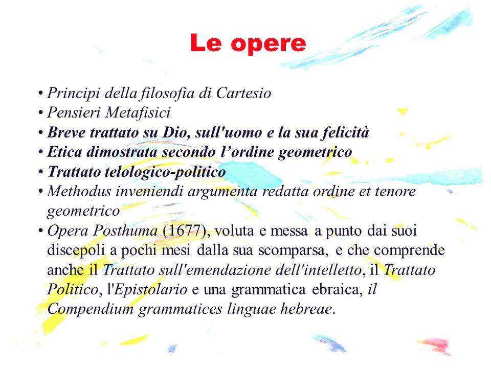 Le opere Principi della filosofia di Cartesio Pensieri Metafisici Breve trattato su Dio, sull'uomo e la sua felicità Etica dimostrata secondo lordine