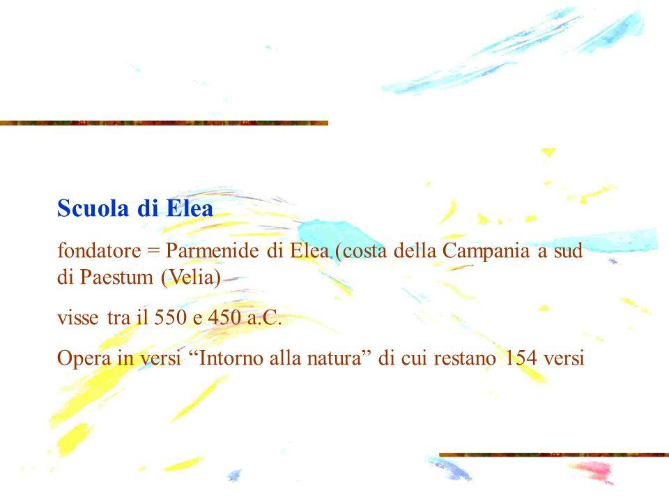 Scuola di Elea fondatore = Parmenide di Elea (costa della Campania a sud di Paestum (Velia) visse tra il 550 e 450 a.C. Opera in versi Intorno alla na