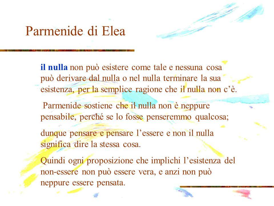 Parmenide di Elea il nulla non può esistere come tale e nessuna cosa può derivare dal nulla o nel nulla terminare la sua esistenza, per la semplice ra