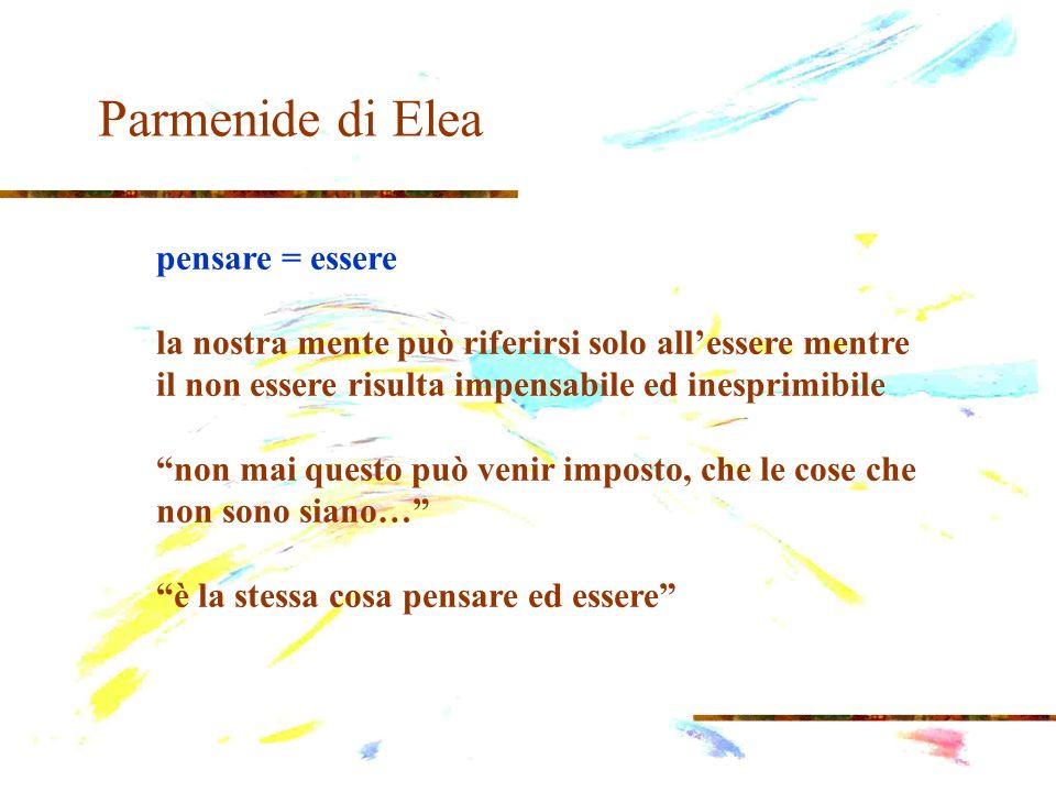 Parmenide di Elea pensare = essere la nostra mente può riferirsi solo allessere mentre il non essere risulta impensabile ed inesprimibile non mai ques