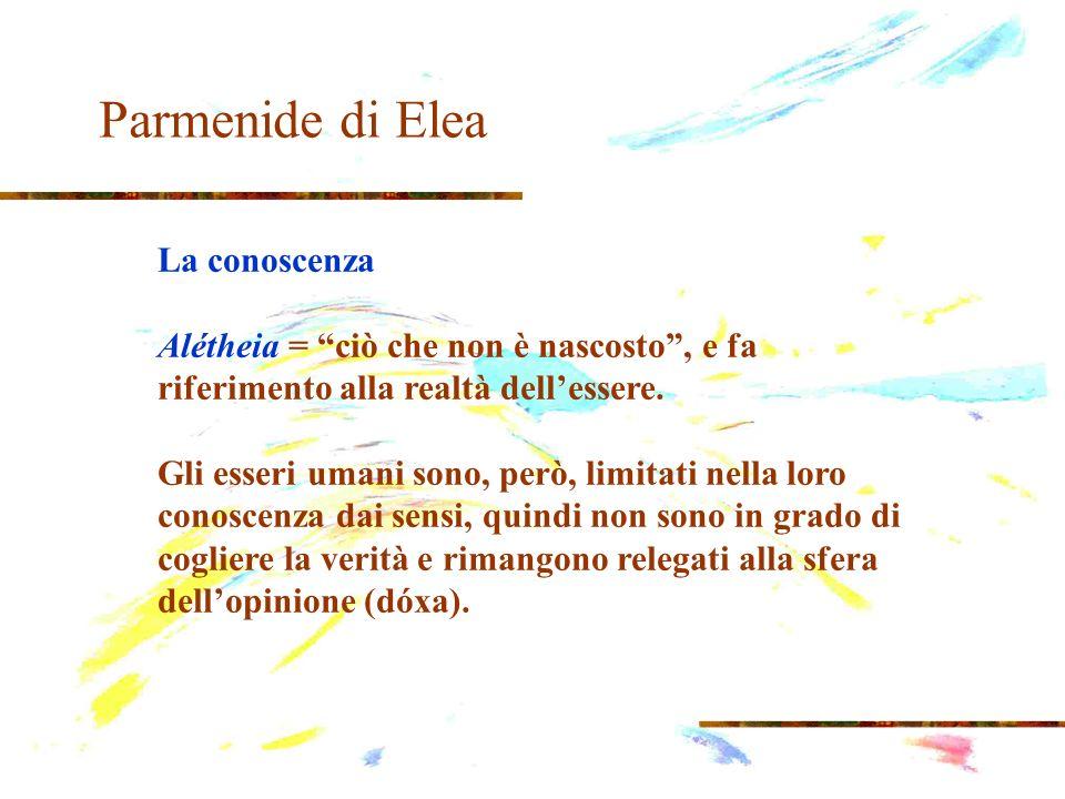 Parmenide di Elea La conoscenza Alétheia = ciò che non è nascosto, e fa riferimento alla realtà dellessere. Gli esseri umani sono, però, limitati nell