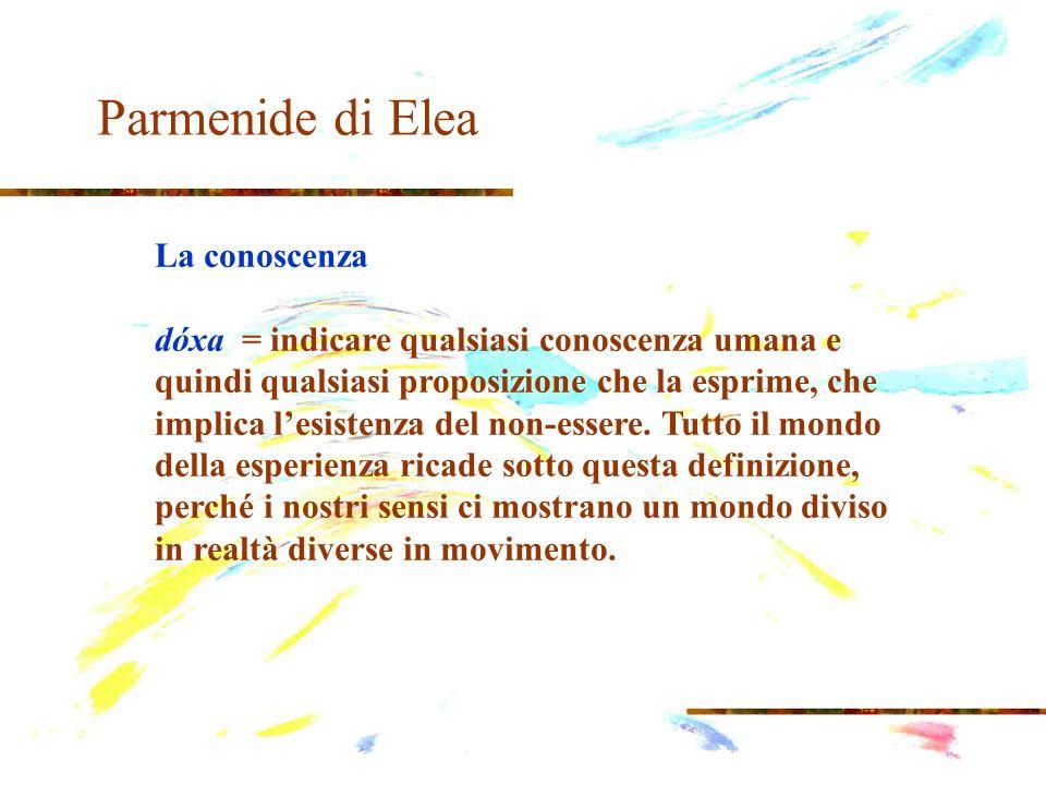 Parmenide di Elea La conoscenza dóxa = indicare qualsiasi conoscenza umana e quindi qualsiasi proposizione che la esprime, che implica lesistenza del