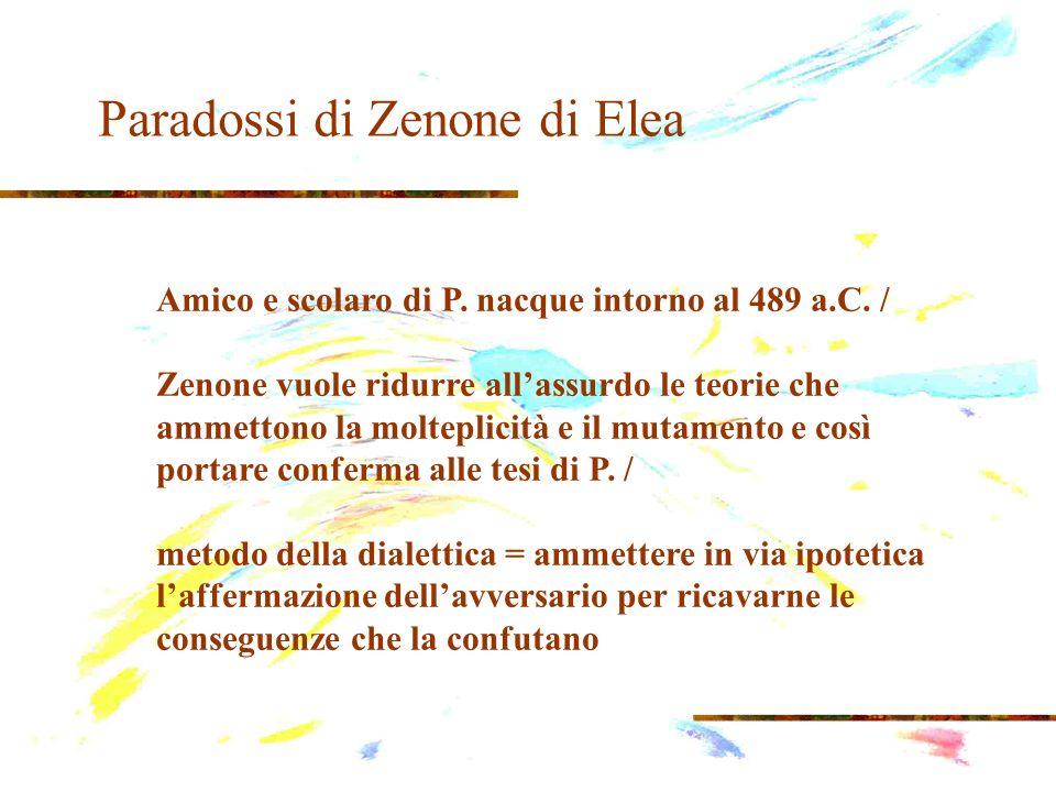 Paradossi di Zenone di Elea Amico e scolaro di P. nacque intorno al 489 a.C. / Zenone vuole ridurre allassurdo le teorie che ammettono la molteplicità