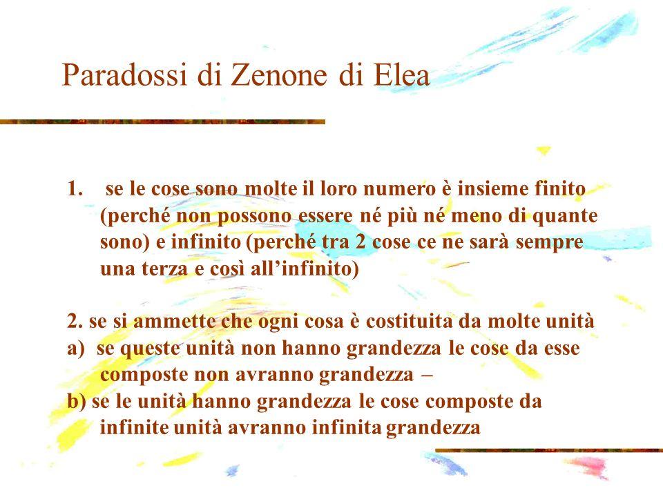 Paradossi di Zenone di Elea 1. se le cose sono molte il loro numero è insieme finito (perché non possono essere né più né meno di quante sono) e infin