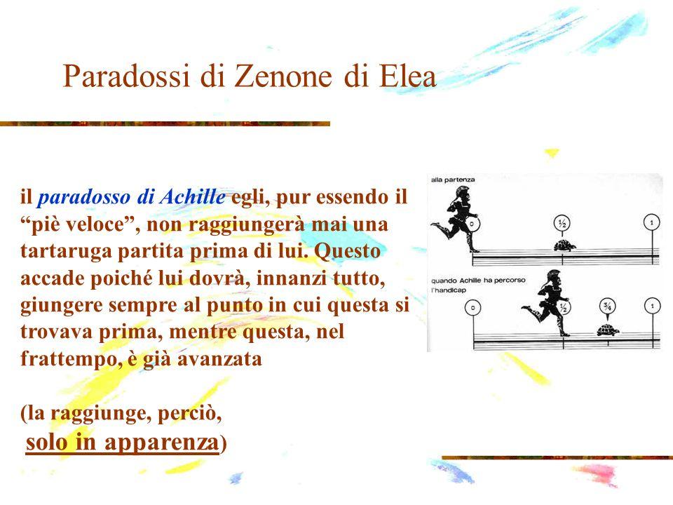 Paradossi di Zenone di Elea il paradosso di Achille egli, pur essendo il piè veloce, non raggiungerà mai una tartaruga partita prima di lui. Questo ac