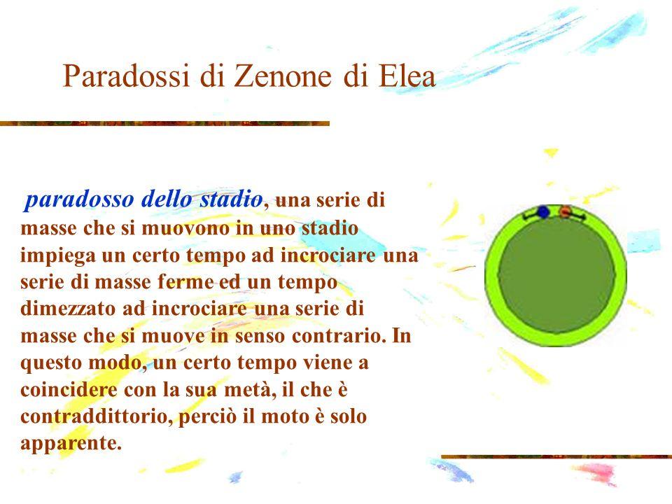 Paradossi di Zenone di Elea paradosso dello stadio, una serie di masse che si muovono in uno stadio impiega un certo tempo ad incrociare una serie di