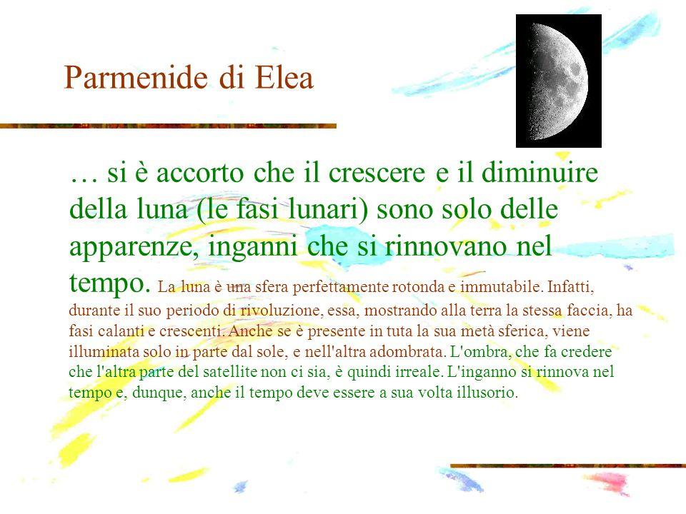Parmenide di Elea … si è accorto che il crescere e il diminuire della luna (le fasi lunari) sono solo delle apparenze, inganni che si rinnovano nel te