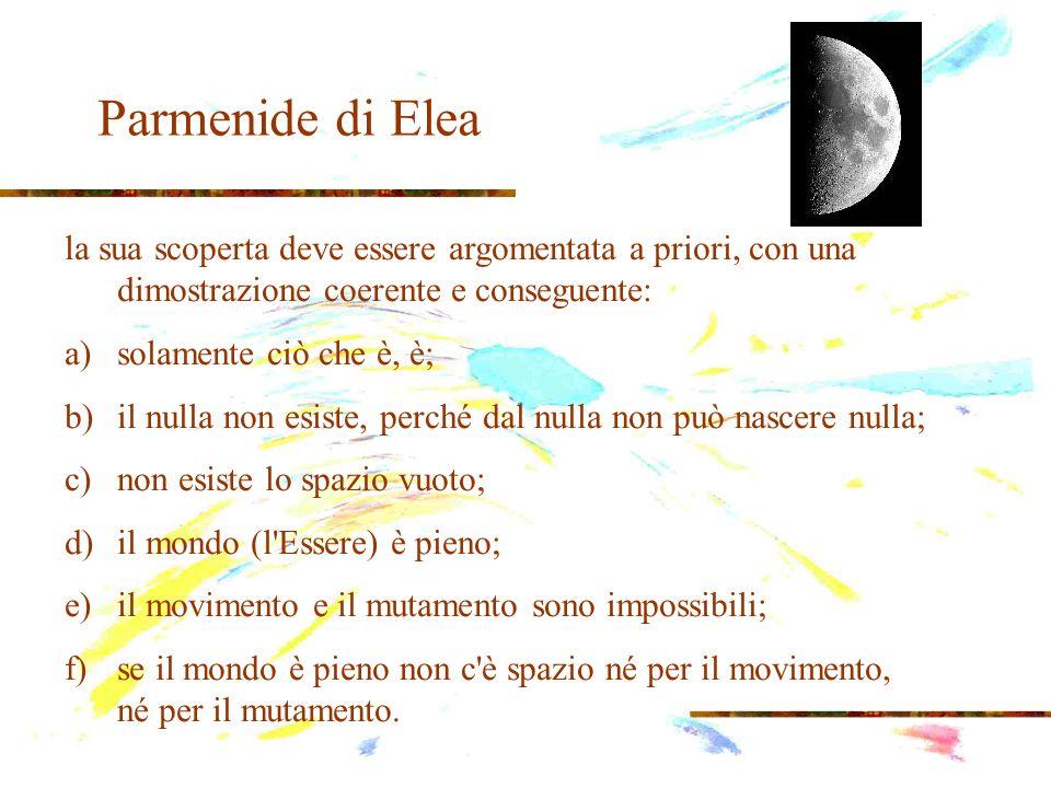 Parmenide di Elea la sua scoperta deve essere argomentata a priori, con una dimostrazione coerente e conseguente: a)solamente ciò che è, è; b)il nulla