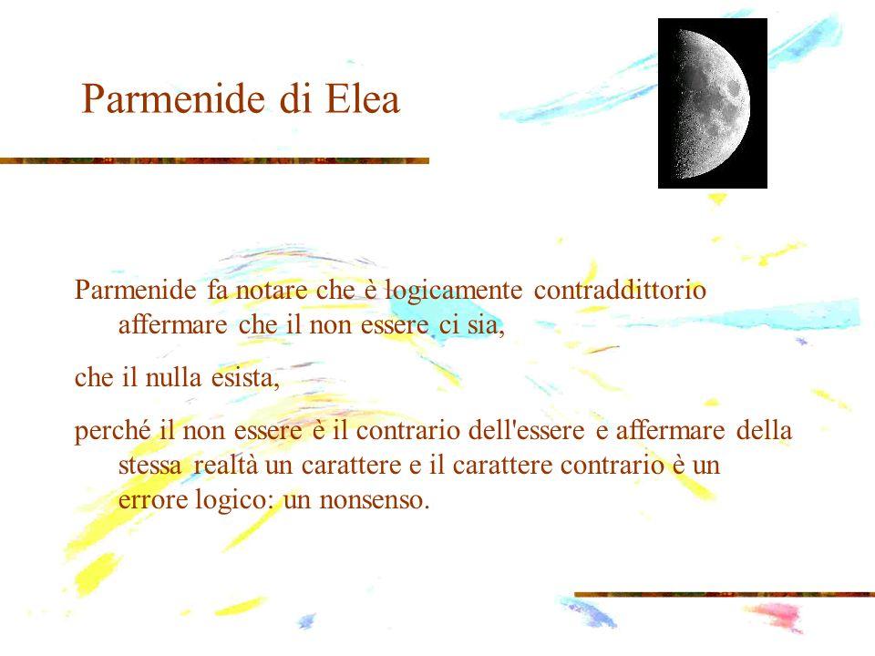 Parmenide di Elea Parmenide fa notare che è logicamente contraddittorio affermare che il non essere ci sia, che il nulla esista, perché il non essere