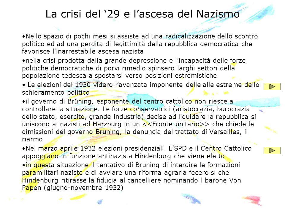 La crisi del 29 e lascesa del Nazismo Nello spazio di pochi mesi si assiste ad una radicalizzazione dello scontro politico ed ad una perdita di legitt