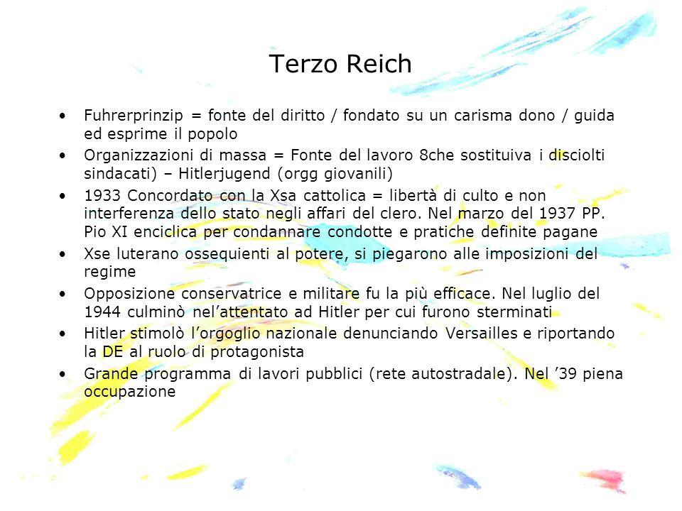 Terzo Reich Fuhrerprinzip = fonte del diritto / fondato su un carisma dono / guida ed esprime il popolo Organizzazioni di massa = Fonte del lavoro 8ch