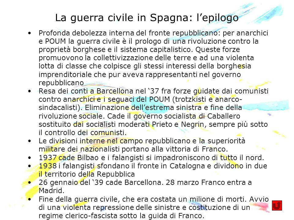 La guerra civile in Spagna: lepilogo Profonda debolezza interna del fronte repubblicano: per anarchici e POUM la guerra civile è il prologo di una riv