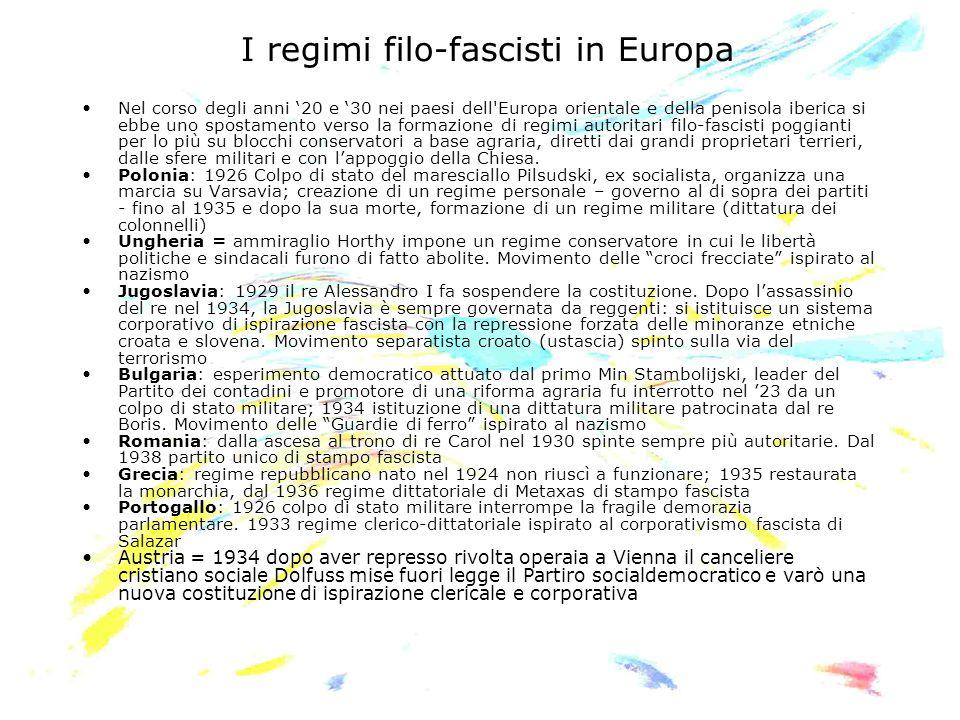 I regimi filo-fascisti in Europa Nel corso degli anni 20 e 30 nei paesi dell'Europa orientale e della penisola iberica si ebbe uno spostamento verso l
