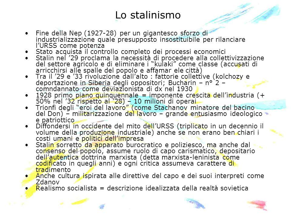 Lo stalinismo Fine della Nep (1927-28) per un gigantesco sforzo di industrializzazione quale presupposto insostituibile per rilanciare lURSS come pote