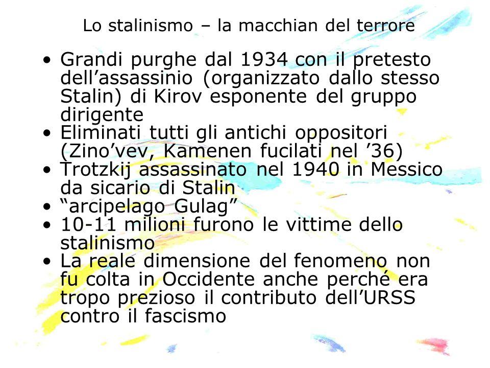 Lo stalinismo – la macchian del terrore Grandi purghe dal 1934 con il pretesto dellassassinio (organizzato dallo stesso Stalin) di Kirov esponente del