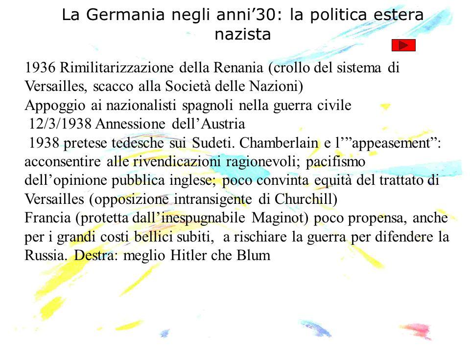 La Germania negli anni30: la politica estera nazista 1936 Rimilitarizzazione della Renania (crollo del sistema di Versailles, scacco alla Società dell
