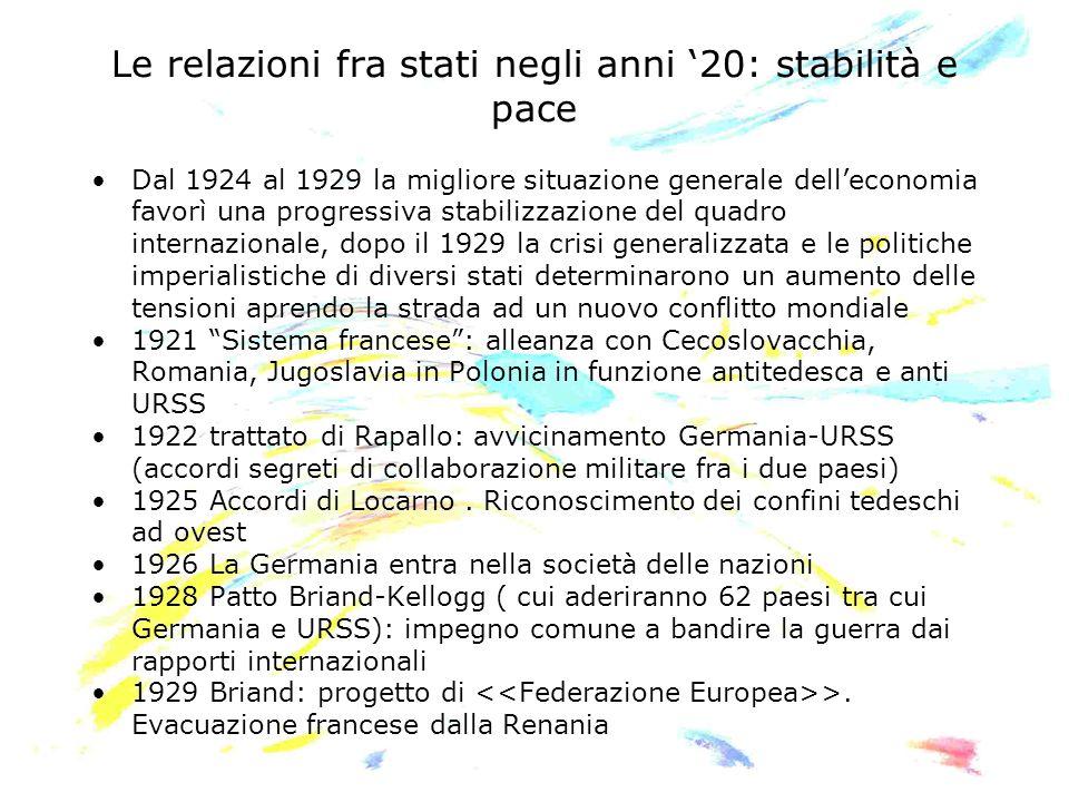 Le relazioni fra stati negli anni 20: stabilità e pace Dal 1924 al 1929 la migliore situazione generale delleconomia favorì una progressiva stabilizza